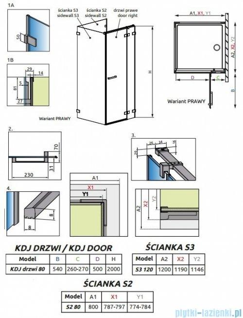 Radaway Euphoria KDJ P Kabina przyścienna 80x120x80 prawa szkło przejrzyste rysunek techniczny