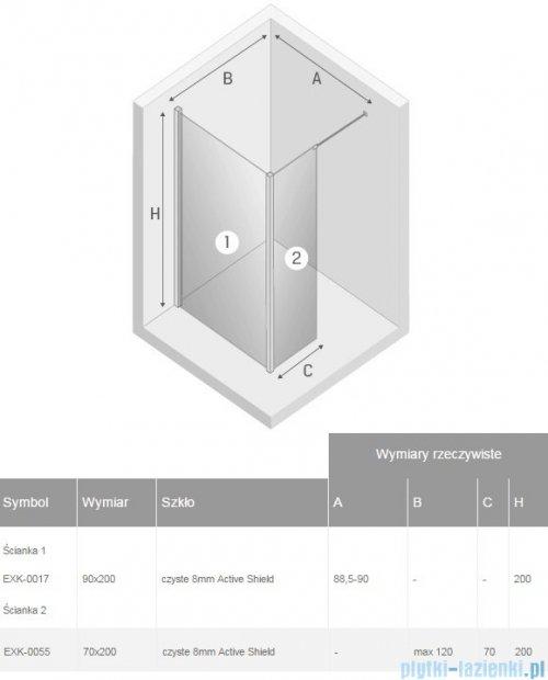 New Trendy New Modus kabina Walk-In 90x70x200 cm przejrzyste EXK-0017/EXK-0055