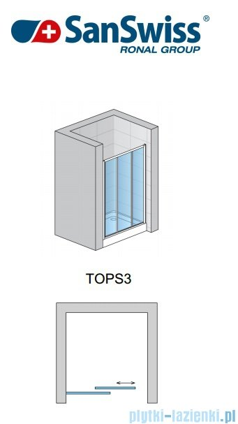 SanSwiss Top-Line TOPS3 Drzwi 3-częściowe 70-120cm profil srebrny TOPS3SM20107
