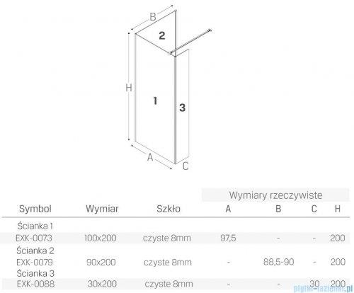 New Trendy New Modus Black kabina prostokątna Walk-In 100x90cm przejrzyste EXK-0073/EXK-0079/EXK-0088