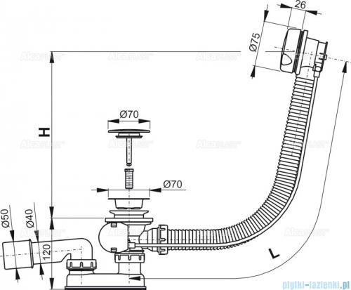 Alcaplast  syfon wannowy automatyczny biały A51BM-100