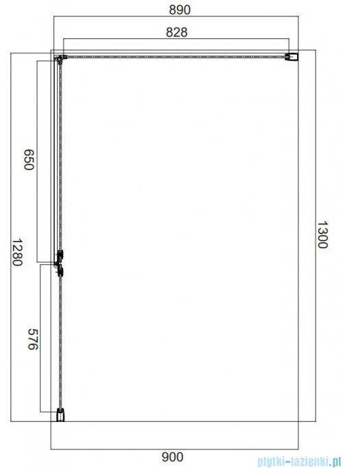 Omnires Manhattan kabina prostokątna 130x90cm szkło przejrzyste rysunek techniczny