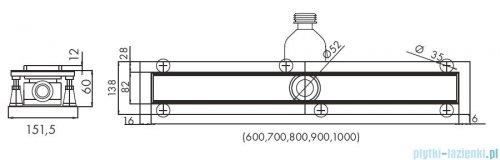 Schedpol Base-Low odpływ liniowy z maskownicą Steel 100x8x6,5cm OLSL100/ST-LOW