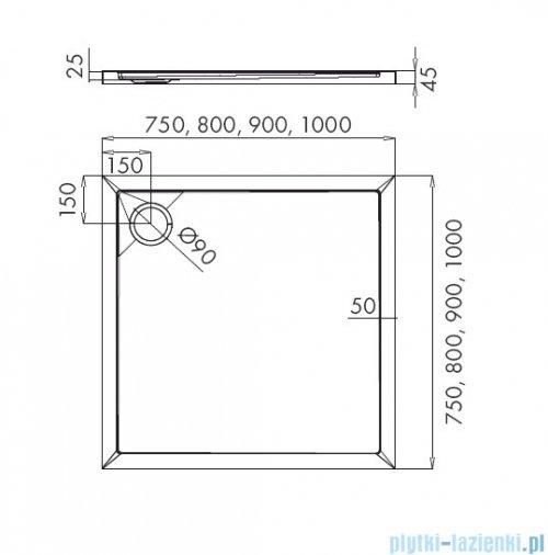 Schedpol Corrina New brodzik kwadratowy z SafeMase 80x80x4cm 3.4330