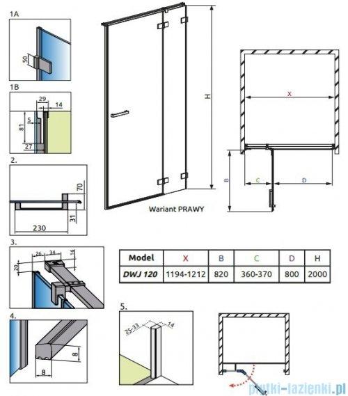 Radaway Euphoria DWJ Drzwi wnękowe 120 prawe szkło przejrzyste 383812-01R/383214-01R