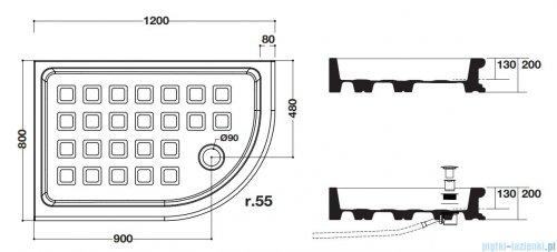 Kerasan Brodzik półokrągły 80x120 Retro prawy 1332