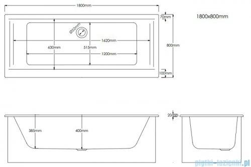Schedpol Schedline Vella Set wanna prostokątna z nośnikiem styropianowym  180x80 cm 3WSP.VS1P-18080