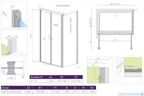 Radaway Eos II DWD+S kabina prysznicowa 80x75cm lewa szkło przejrzyste rysunek techniczny