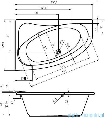 Riho Lyra wanna asymetryczna 153,5x100,5cm prawa nóżki+syfon BA67/08/AMC55