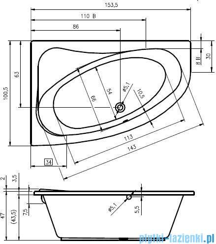 Riho Lyra wanna asymetryczna 153x100cm prawa nóżki BA67/08