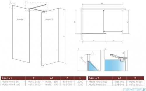 Radaway Modo New Black III kabina Walk-in 95x100x200 szkło przejrzyste 389095-54-01/389104-54-01/389000-54