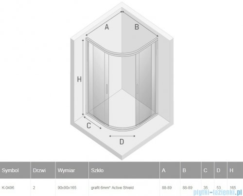 New Trendy New Varia kabina półokrągła 90x90x165 cm grafit K-0496