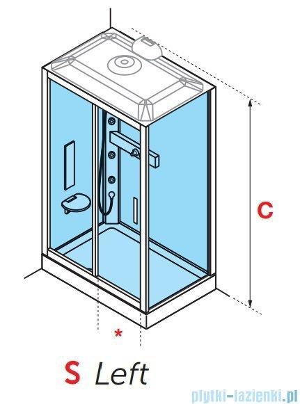 Novellini Glax 3 kabina prysznicowa z hydromasażem 120x90 lewa srebrny GL32P299SM1-1B