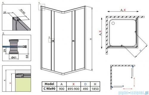Radaway Classic C Kabina prysznicowa kwadratowa z drzwiami przesuwnymi 90x90 szkło grafitowe profile białe 30050-04-05