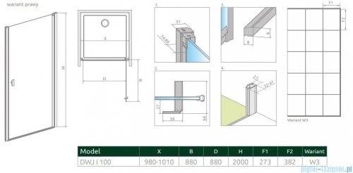 Radaway Nes Black Dwj I Factory Drzwi wnękowe 100cm prawe rysunek techniczny