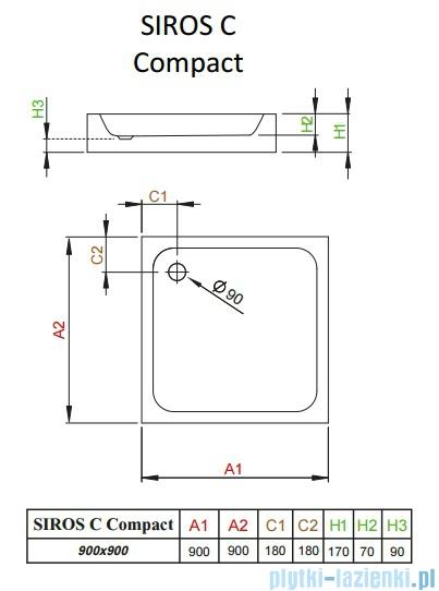 Radaway Brodzik kwadratowy Siros C 90x90 Compact na podstawie styropianowej ze zintegrowaną obudową SBC9917-2