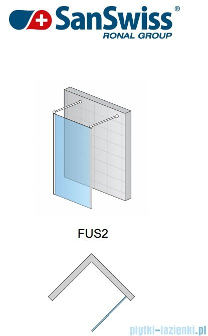SanSwiss Fun Fus2 kabina Walk-in 100cm profil połysk FUS210005007