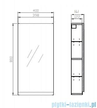 Cersanit Moduo szafka lustrzana wisząca 80x40 cm szara S590-031