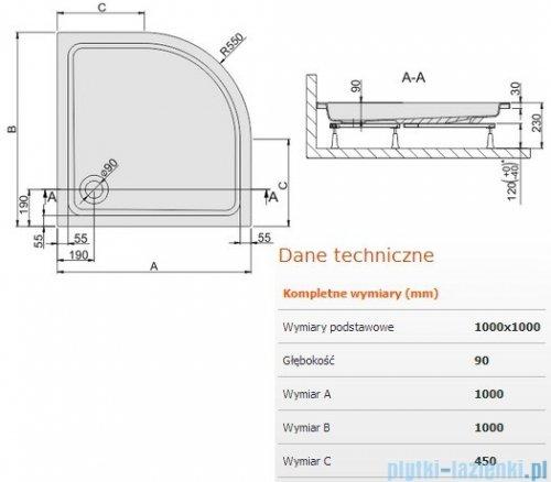 Sanplast Free Line brodzik półokrągły 100x100x9cm+stelaż 615-040-0241-01-000