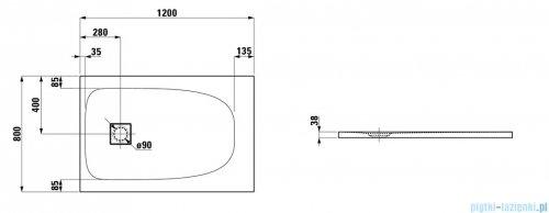 Laufen Solutions brodzik prostokątny 120x80cm biały H2154410000001