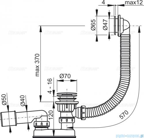 Alcaplast  syfon wannowy klik-klak, chrom A505CRM-100