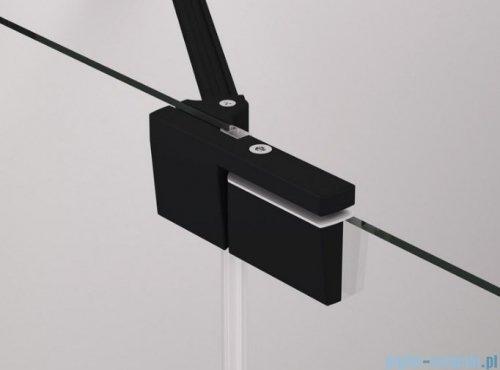 SanSwiss Cadura Black Line drzwi wahadłowe 80cm jednoczęściowe lewe z polem stałym czarny mat CA13G0800607