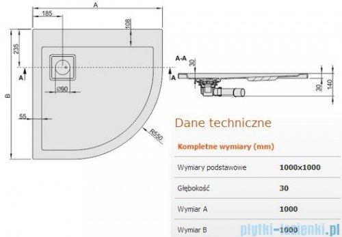 Sanplast Space Line brodzik półokrągły 100x100x3cm+syfon 615-110-0340-01-000