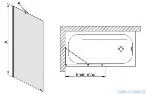 Sanplast parawan wannowy szkło: przejrzyste  PW1/FREE-80   600-260-0520-42-401