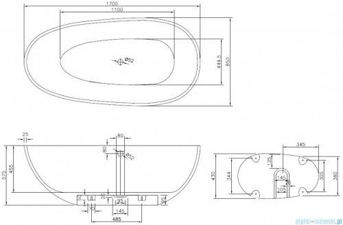 Sanitti Tre XL wanna wolnostojąca 170x85 + syfon z przelewem biała 11031100