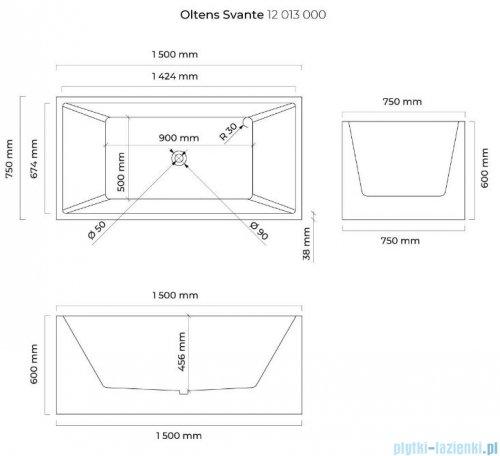Oltens Svante wanna wolnostojąca prostokątna 150x75 cm 12013000