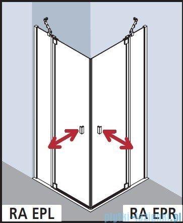 Kermi Raya Wejście narożne, 1 połowa, prawa, szkło przezroczyste, profile srebrne 75x200 RAEPR07520VAK