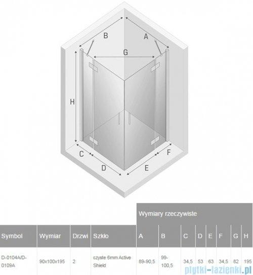New Trendy New Renoma kabina prostokątna 90x100x195 cm przejrzyste D-0104A/D-0109A