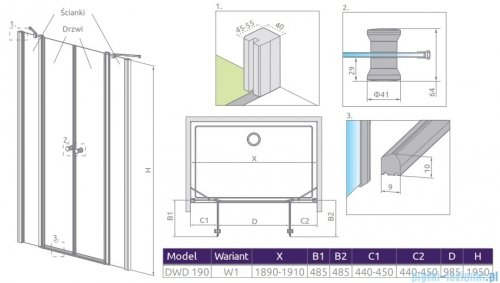 Radaway Eos II Dwd drzwi prysznicowe 190x195 W1 szkło przejrzyste rysunek techniczny