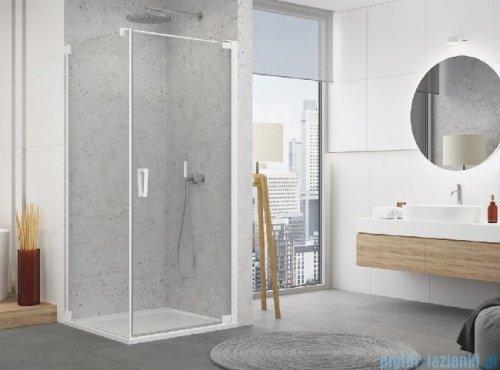SanSwiss Cadura White Line drzwi wahadłowe 75cm jednoczęściowe prawe z profilem przyściennym biały mat CA1CD0750907