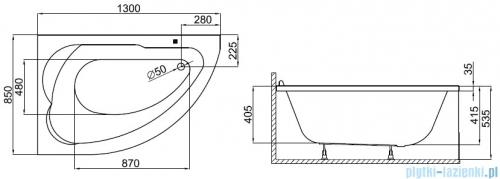 Polimat Standard wanna asymetryczna 130x85 lewa + obudowa + syfon 00350/00344/19975