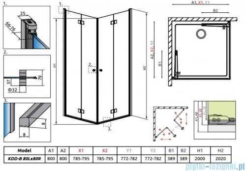 Radaway Essenza New Kdd-B kabina 80x80cm przejrzyste bez listwy progowej 385070-01-01LB/385070-01-01RB