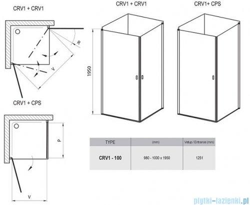 Ravak Chrome CRV1 drzwi prysznicowe 1/2 100cm białe transparent 1QVA0101Z1