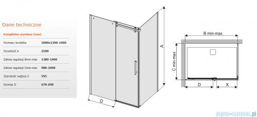 Sanplast kabina KND2/ALTII narożna prostokątna 100x130-140x210 cm grafit 600-121-1031-42-491