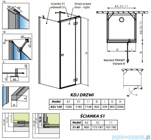 Radaway Essenza New Kdj+S kabina 80x120x80cm prawa szkło przejrzyste 385024-01-01R/384051-01-01/384051-01-01