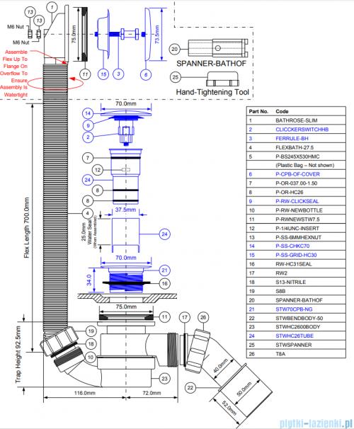 McAlpine syfon wannowy odpływowo - przelewowy chrom klik-klak  HC2600CL