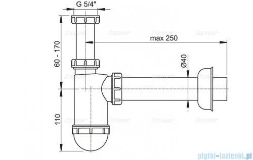 "Alcaplast półsyfon umywalkowy DN40 z nakrętką 5/4"" A43"