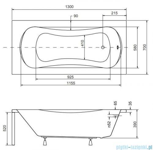 Besco Aria Plus 130x70cm wanna prostokątna z uchwytami + obudowa + syfon #WAA-130-PU/#OAA-130-PA/19975