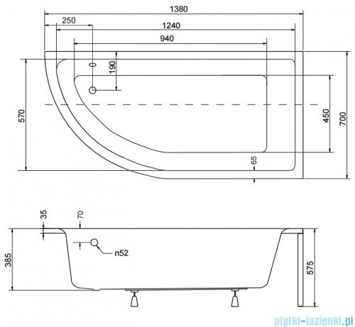 Besco Praktika Wanna 140x70cm prawa asymetryczna #WAP-140-NP