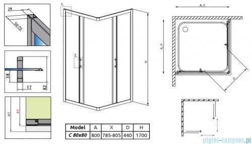 Radaway Premium Plus C Kabina kwadratowa 80x80x170 szkło brązowe 30461-01-08N