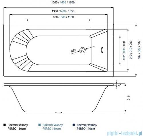 Massi Perso wanna prostokątna 150x70 cm MSWT-PE-001150