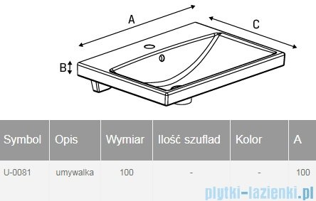 New Trendy umywalka ceramiczna z otworem na baterię 100 cm U-0081