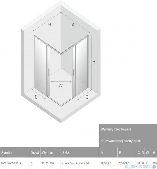 New Trendy Prime Black kabina prostokątna 90x70x200 cm przejrzyste D-0314A/D-0351A