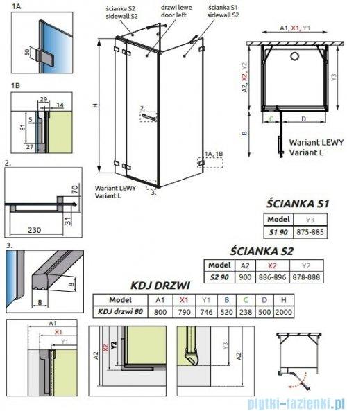 Radaway Euphoria KDJ+S Kabina przyścienna 90x80x90 lewa szkło przejrzyste 383512-01L/383221-01L/383050-01/383030-01