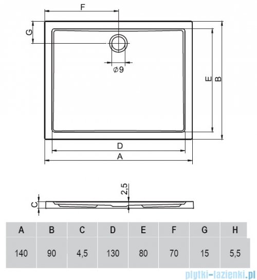 Riho Zurich brodzik prostokątny płaski 256 140x90x4,5 DA64