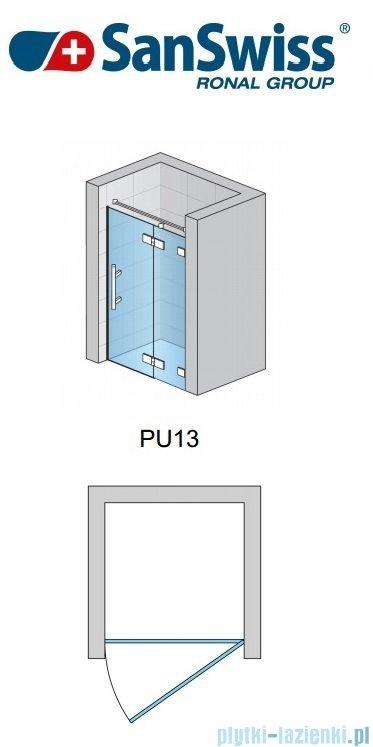 SanSwiss Pur PU13P Drzwi 1-częściowe 90cm profil chrom szkło przejrzyste Prawe PU13PD0901007